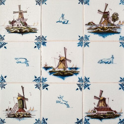Windmills Blue Glazed Ceramic Tiles 5×5