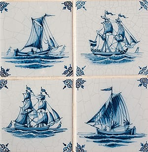 Ships Blue Glazed Ceramic Tiles 5x5