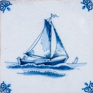 Boats Blue Glazed Ceramic Tiles 5x5