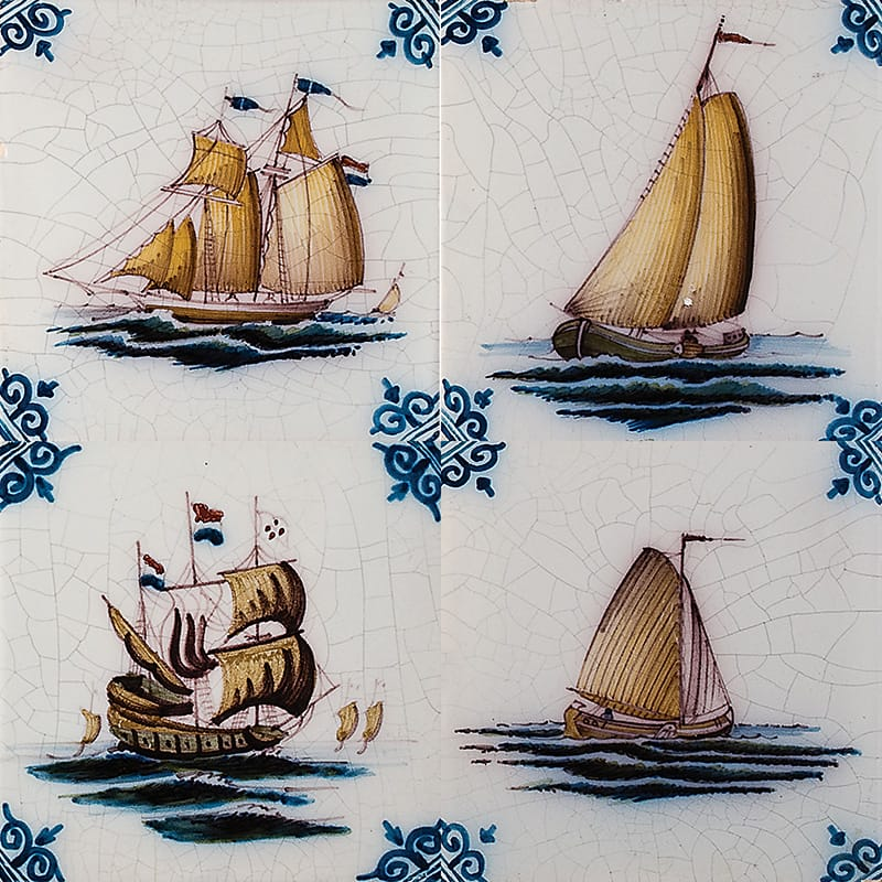 Boats Poly Glazed Ceramic Tiles 5x5 Country Floors Of America Llc