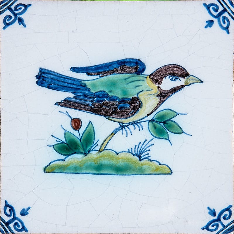 Large Birds Poly Glazed Ceramic Tiles 5x5