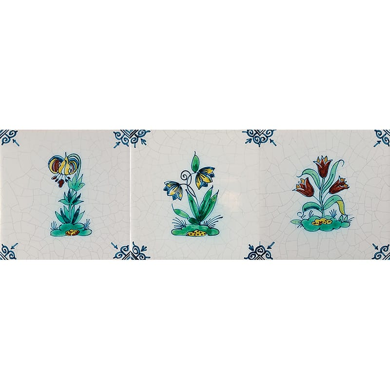 Flowers On Mound Poly Glazed Ceramic Tiles 5x5