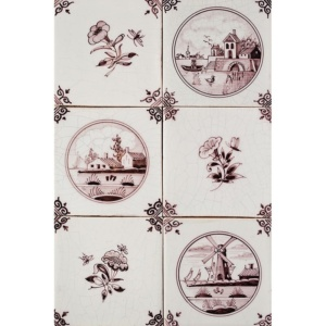 Scenes In Circle Sepia Glazed Ceramic Tiles 5x5