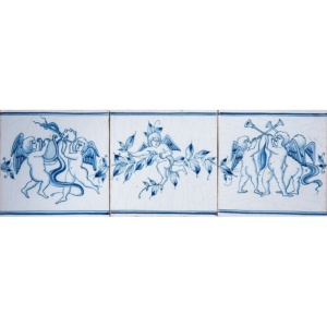 Musical Cherubs Full Border Blue Glazed Ceramic Borders 5x15