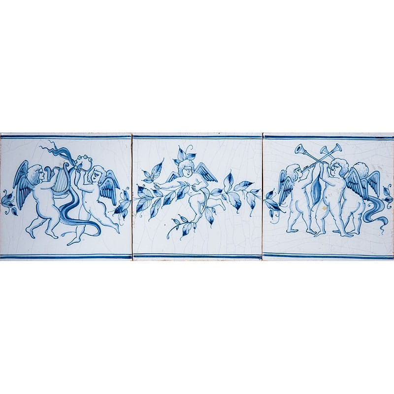 Musical Cherubs Full Border Blue Glazed Ceramic Tiles 5x15