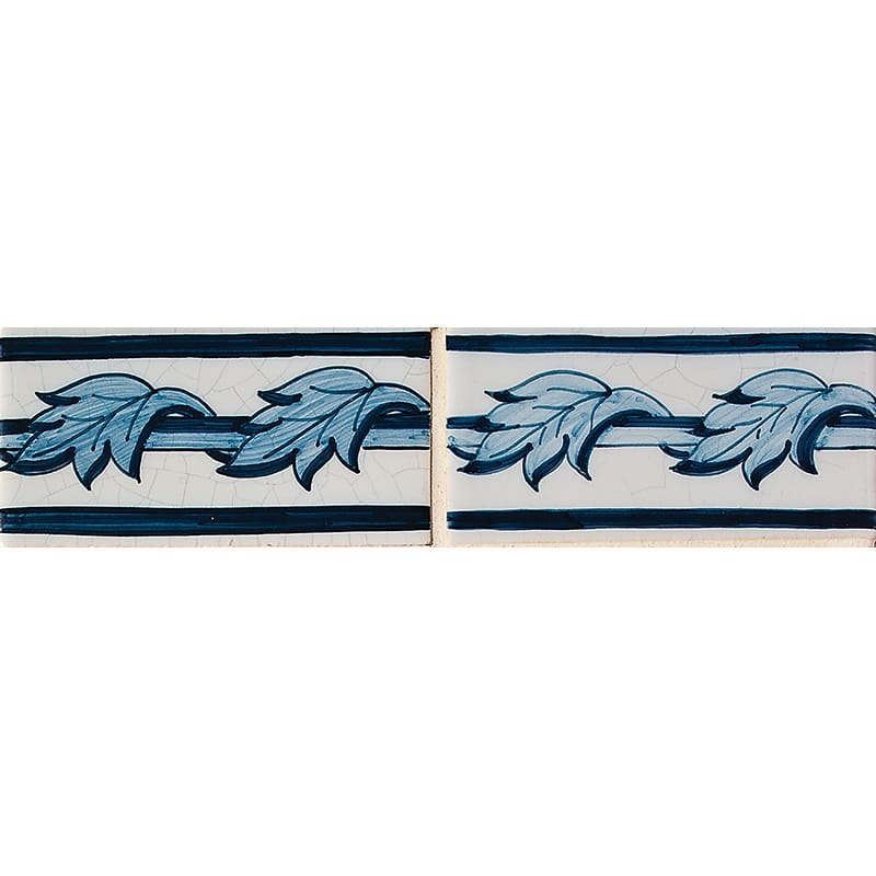 Acanthus Border Blue Glazed 2 1/2x5 Ceramic Tiles