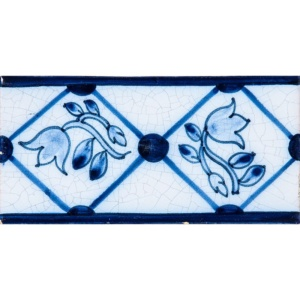 Tulip Border Blue Glazed Ceramic Borders 2 1/2x5