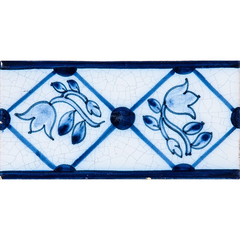 Tulip Border Blue Glazed 2 1/2x5 Ceramic Tiles