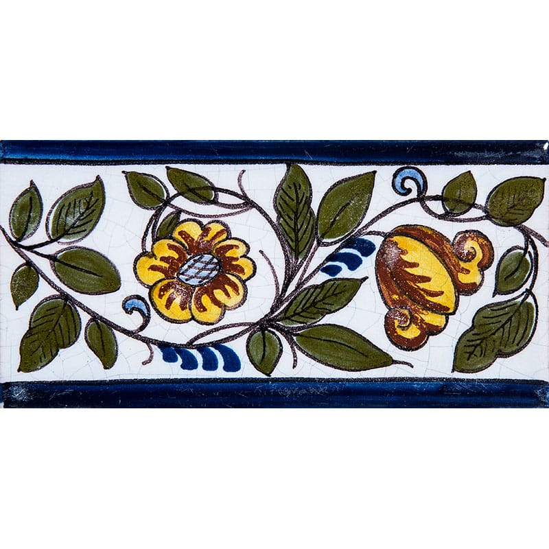 Poppy Border Poly Glazed Ceramic Tiles 2 1/2x5