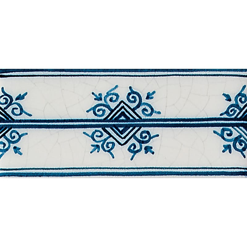 Oxtail Border Blue Glazed Ceramic Tiles 2 1/2x5