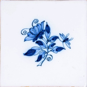 Small Blue Flowers Blue On White Glazed Ceramic Tiles 5x5
