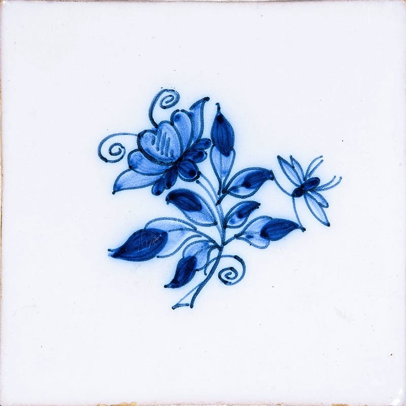 Small Blue Flowers Blue On White Glazed 5x5 Ceramic Tiles