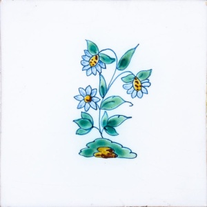 Small Flowers Poly On White Glazed Ceramic Tiles 5x5