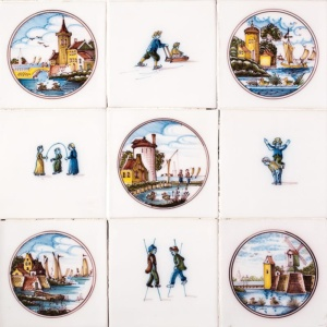 Childrens Games Poly Glazed Ceramic Tiles 5x5