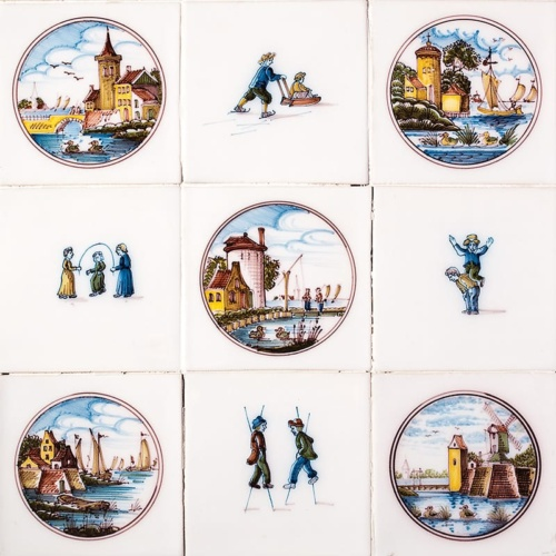 Childrens Games Poly Glazed Ceramic Tiles 5×5
