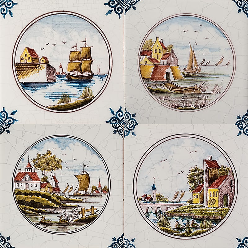 Scenes In Circle Poly On White Glazed Ceramic Tiles 5x5