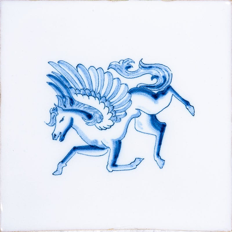 Heraldic Blue On White Glazed Ceramic Tiles 5x5