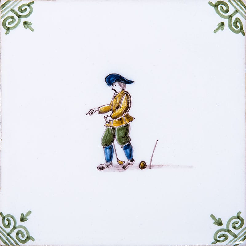 Golfers Poly White Vermeer Green Corners Glazed 5x5 Ceramic Tiles