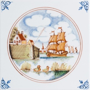 Ship Scenes In Circle Poly On White Glazed Ceramic Tiles 6x6