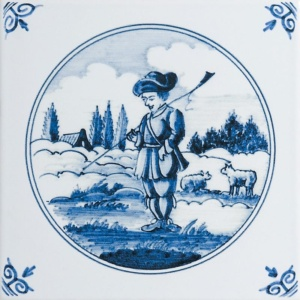 Country Scenes In Circle Poly On White Glazed Ceramic Tiles 6x6