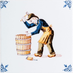 Barrel Trades Poly On White Glazed Ceramic Tiles 6x6