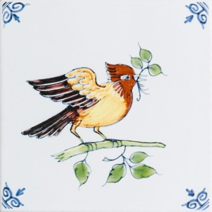 Large Birds Poly On White Glazed Ceramic Tiles 6x6