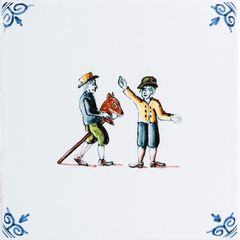 Children Playing With Wooden Horse Glazed Ceramic Tiles 6x6