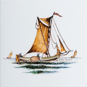 Boats White Glazed Ceramic Tiles 6x6
