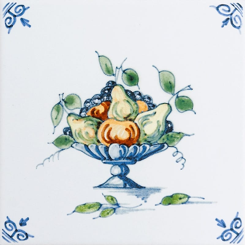 Fruit Basket Glazed Ceramic Tiles 6x6