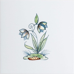 Flowers On Mound Poly Glazed Ceramic Tiles 6x6