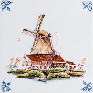 Windmills White Glazed Ceramic Tiles 6x6