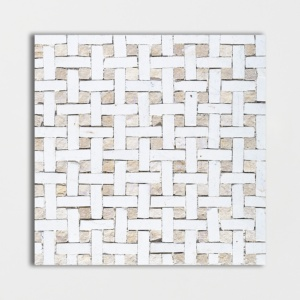White, Beige Honed Basket Weave Limestone Mosaics 8x8