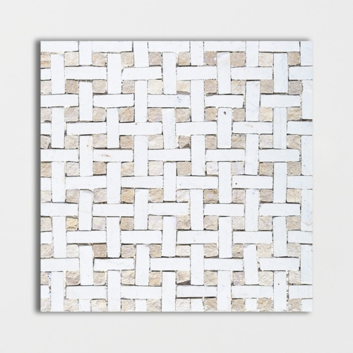White, Beige Honed Basket Weave Limestone Mosaics 8×8