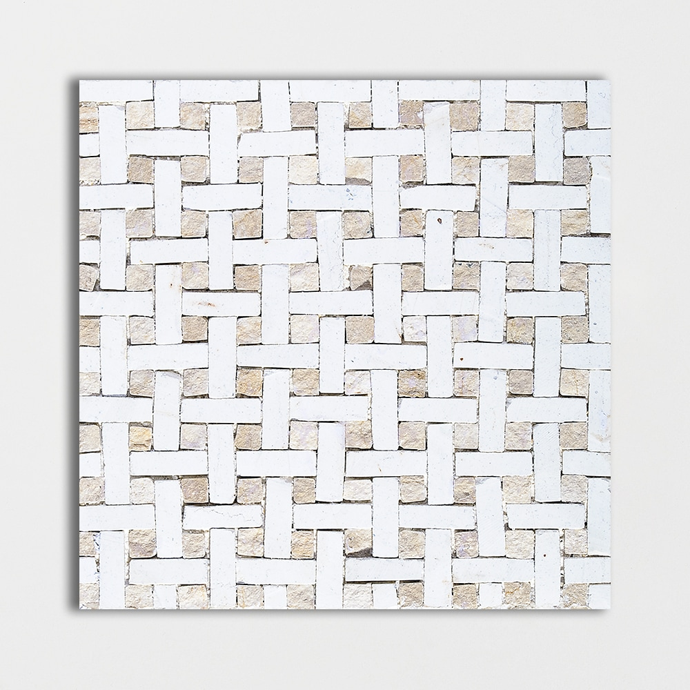 Basketweave, White/beige Honed 8x8 Mosaic Limestone Mosaic
