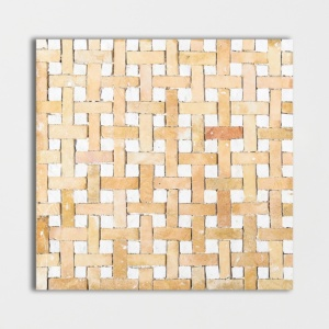 Yellow, White Honed Basket Weave Limestone Mosaics 8x8
