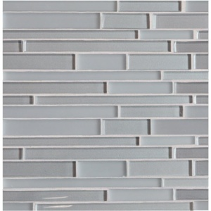 Ash Metallic/matte Interlocking Slides Glass Mosaics 12x12
