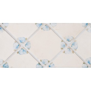 Petal Blanc Triangle, French Blue Glazed Ceramic Tiles 4x4