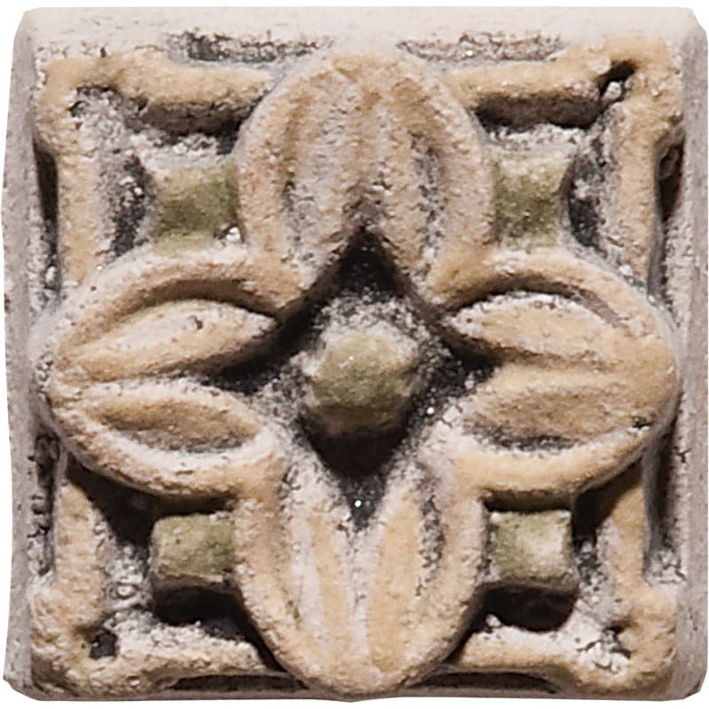 Clover Field Antiqued Architectural Ceramic Wall Deco 1x1