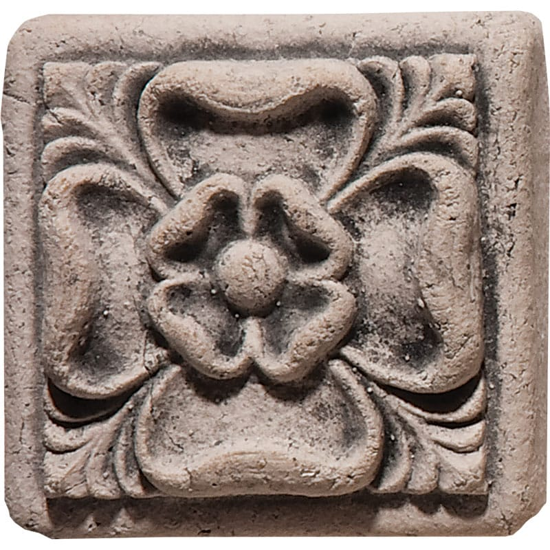 Tudor Rose Field Antiqued 2x2 Architectural Ceramic Wall Deco