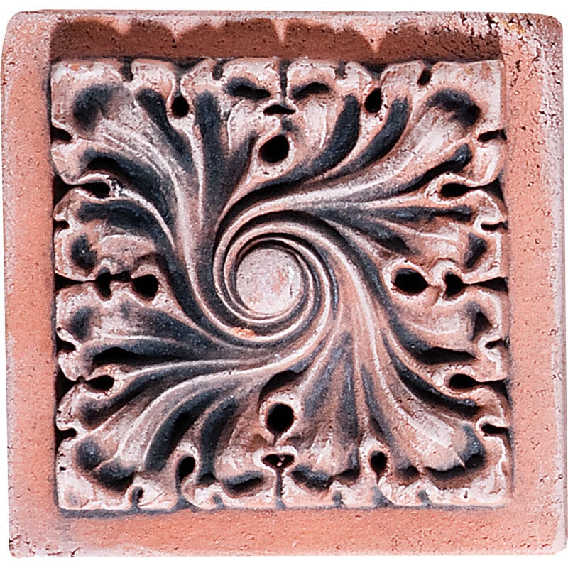 Gothic Frame Field Antiqued Architectural Ceramic Wall Deco 4x4