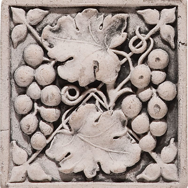 Grape Field Antiqued 4x4 Architectural Ceramic Wall Deco