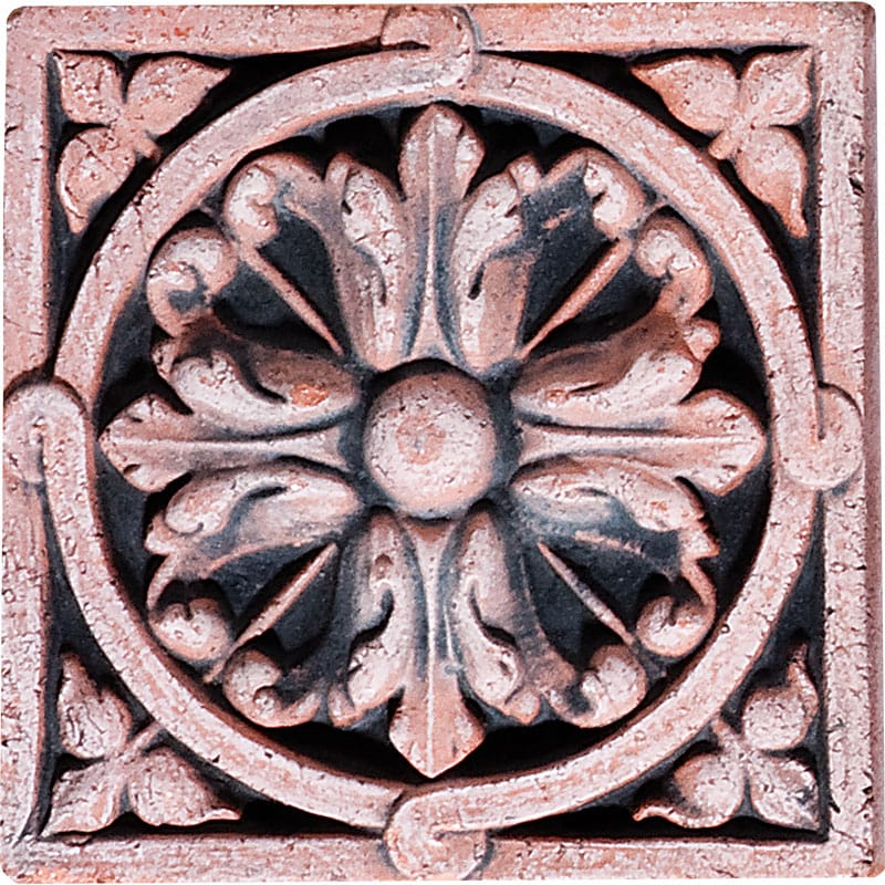 Rosette Field Antiqued Architectural Ceramic Wall Deco 4x4