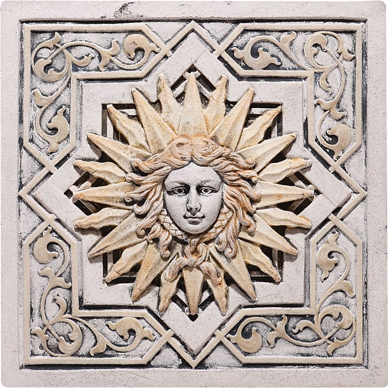 Apollo Plaque Antiqued 8 1/2x8 1/2 Architectural Ceramic Wall Deco