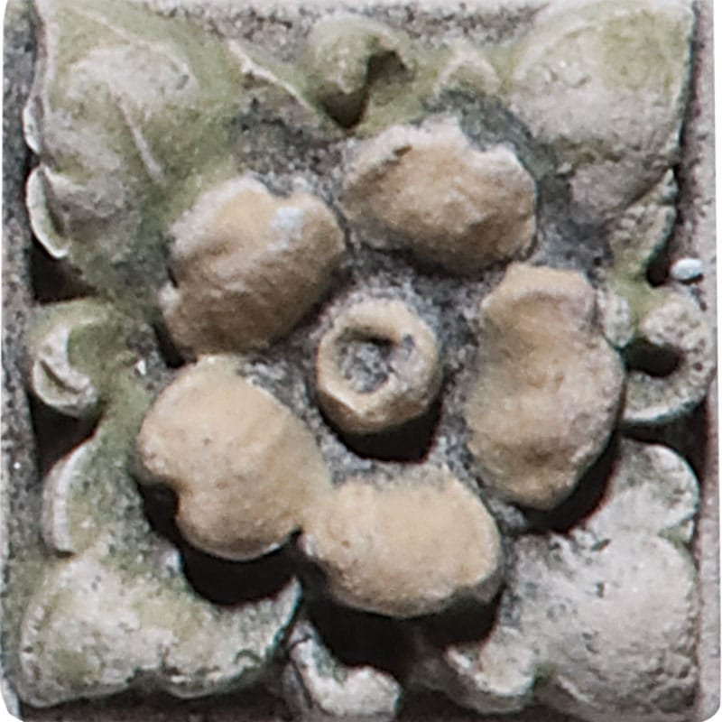 Flower Field Antiqued Architectural Ceramic Wall Deco 1x1