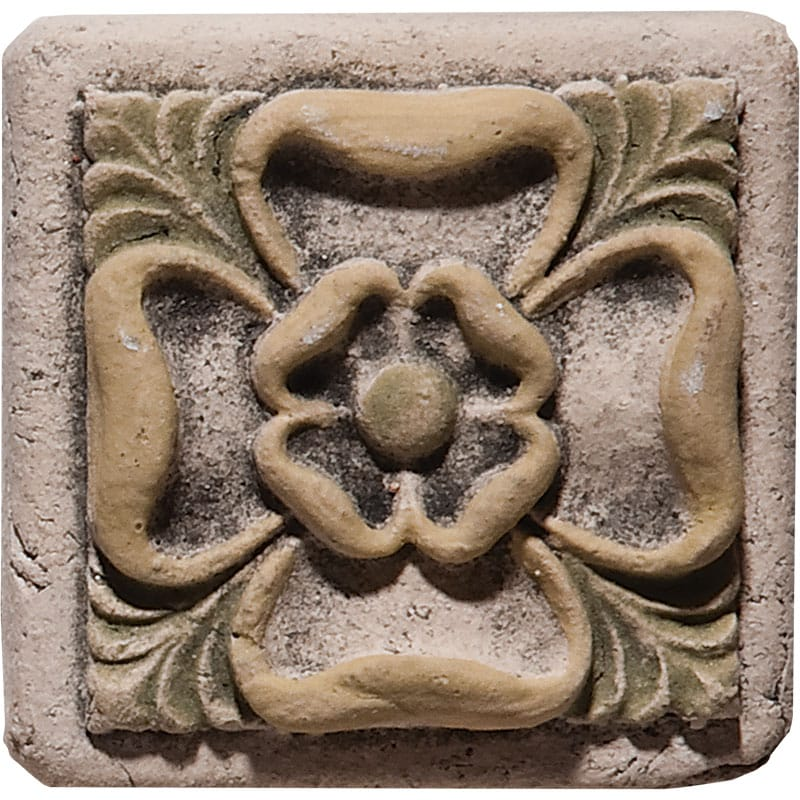 Tudor Rose Field Antiqued Architectural Ceramic Wall Deco 2x2