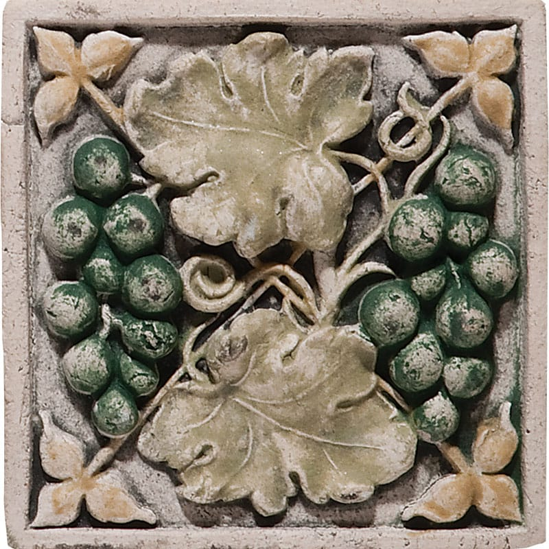 Grape Field Antiqued Architectural Ceramic Wall Deco 4x4