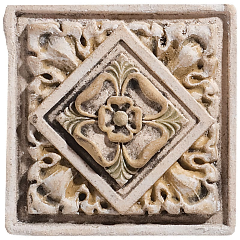 Leafy Tudor Base Field Antiqued Architectural Ceramic Wall Deco 4x4