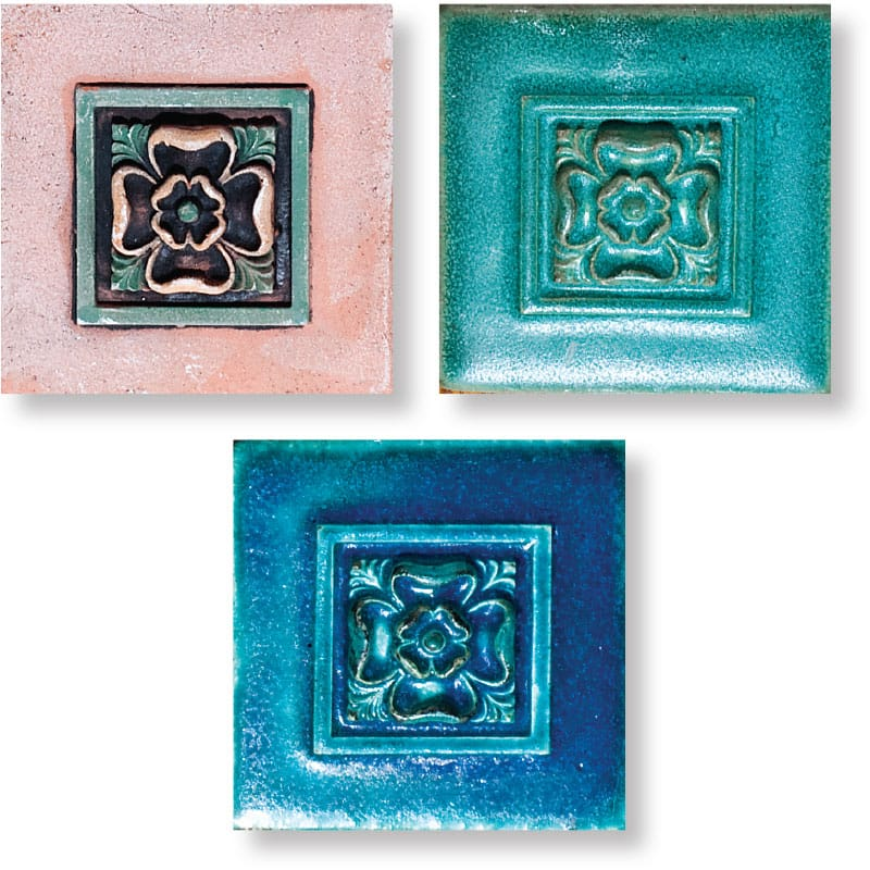 Tudor Rose Field Antiqued Architectural Ceramic Wall Deco 4x4