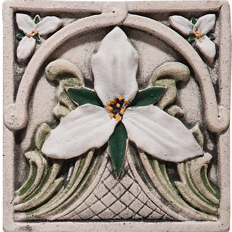 Trillium Field Antiqued Architectural Ceramic Wall Deco 4x4
