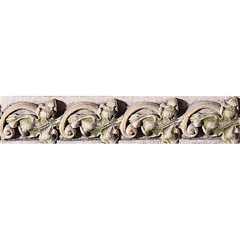 Ivy W/ Scroll White Antiqued 1 3/8x6 1/4 Architectural Ceramic Moulding